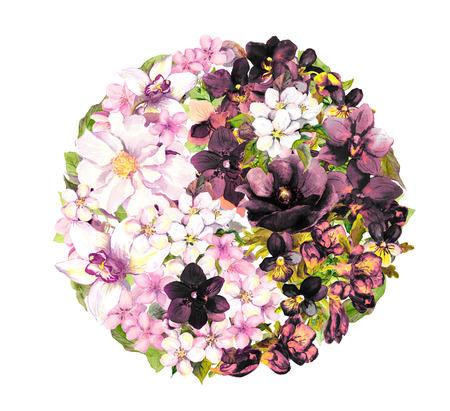 yin y yan: Yin yan, el ying yang con flores. acuarela blanco y negro
