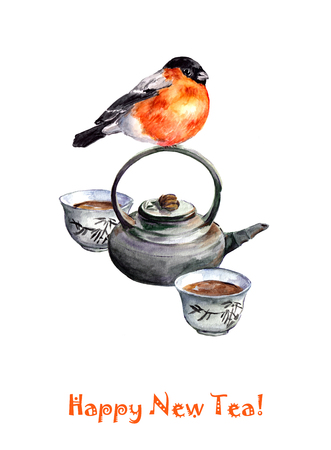 tearoom: Christmas greeting card with chinese set for tea ceremony and cute bird. Watercolor