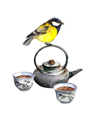 chickadee: Tit bird and asian tea ceremony ware. Watercolor Stock Photo