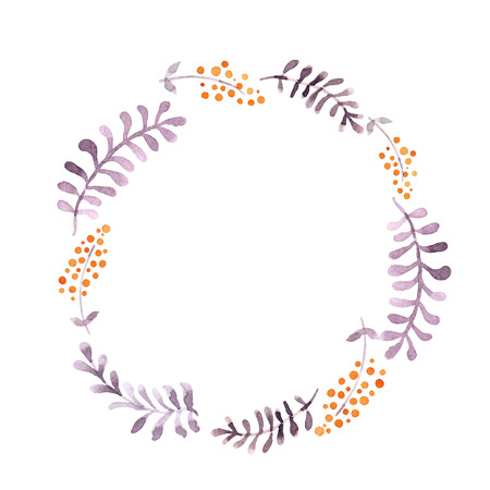 Cute wreath with leaves and berries. Watercolor