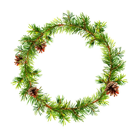 pine wreath: Pine wreath - fir tree branches with cones. Watercolor circle border