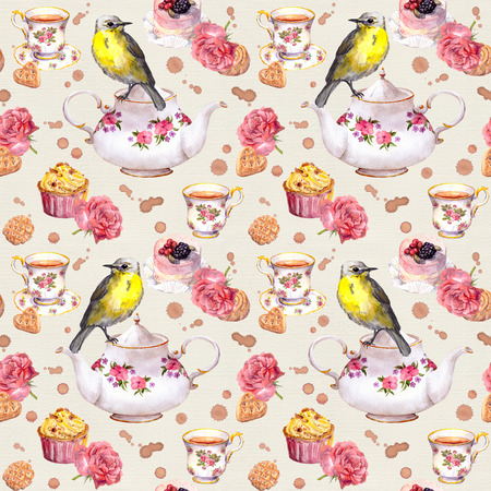 water bird: Teapot, teacup, cakes, rose flowers and bird. Repeating tea time pattern. Water color