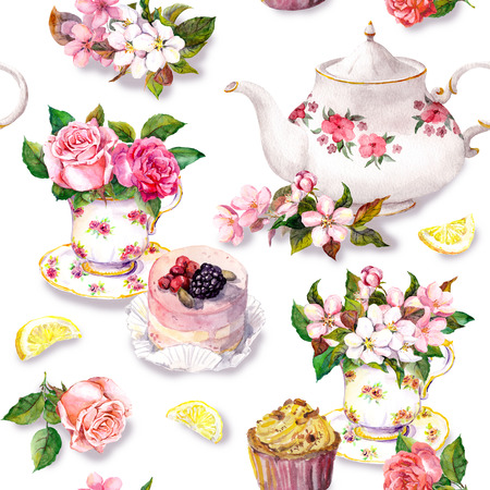 Tea pattern with flowers cherry blossom, rose flower in tea cup, cake and tea pot. Water color. Seamless background