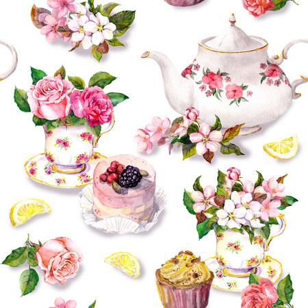 Theepatroon met bloemen, kersenbloesem, roze bloem in theekop, cake en theepot. Waterkleur. Naadloze achtergrond Stockfoto