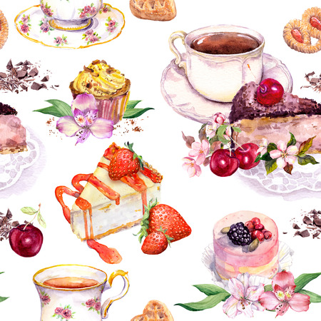teatime: Tea pattern with flowers, tea cup, cakes, bird and butterflies. Food watercolor. Seamless background for teatime Stock Photo