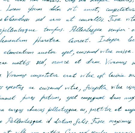 papier a lettre: main vintage lettre écrite - transparente texte Lorem ipsum. Répétition de la note modèle, mots manuscrits fond Banque d'images