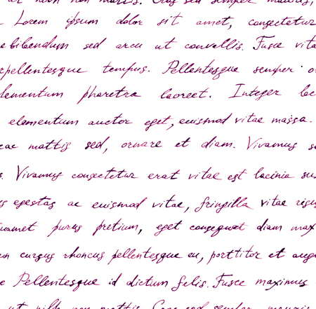 old letter: Vintage hand written letter - seamless text Lorem ipsum. Repeating note pattern, handwritten words background Stock Photo
