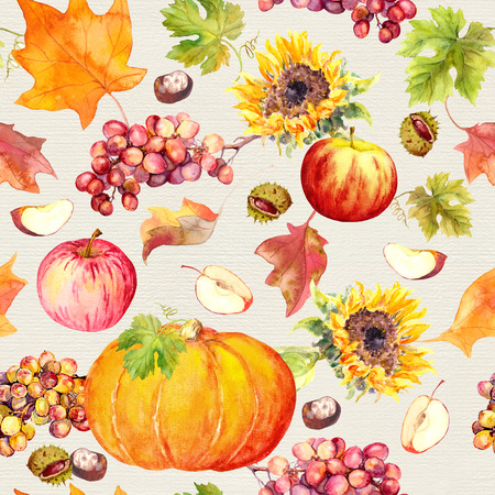 Thanksgiving seamless pattern - fruits, vegetables pumpkin, apples, grape . sunflower flowers with autumn leaves. Watercolor Stock Photo