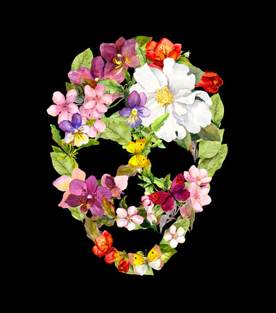 Skull with flowers for Halloween design. Watercolor Stock Photo