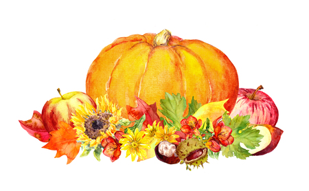 Thanksgiving pumpkin with flowers and fruits. Watercolor
