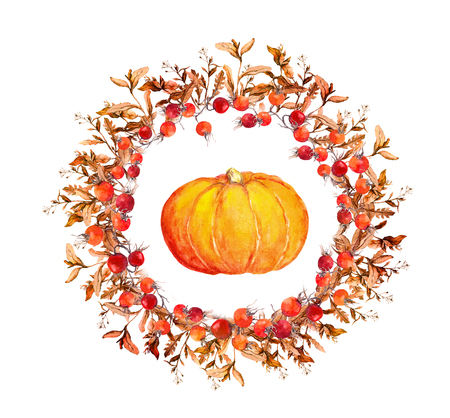 thanks giving: Thanksgiving wreath - pumpkins, berries, autumn leaves. Watercolor round border for thanks giving day