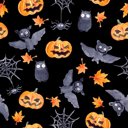 naive: Halloween seamless pattern with halloween pumpkin and bat. Cute naive watercolor