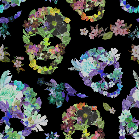 Floral skulls with flowers. Seamless pattern for Dia de los Muertos for fashion design. Watercolor