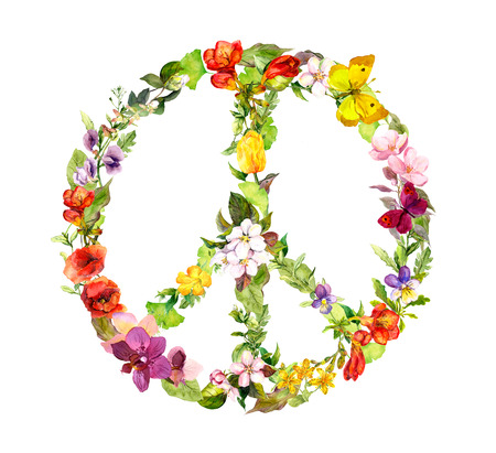 woodstock: Floral peace sign with flowers and butterflies for Peace Day. Watercolor Stock Photo