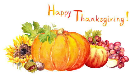 water chestnut: Thanksgiving design - fruits and vegetables pumpkin, apples, grape . Watercolor Stock Photo