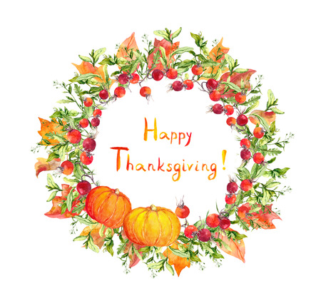 thanks giving: Thanksgiving wreath - pumpkins, berries, autumn leaves. Watercolor round for thanks giving day