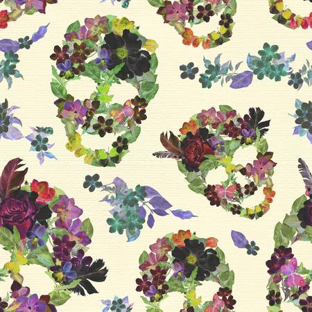 Vintage floral skulls with flowers. Seamless pattern for Dia de los Muertos. Watercolor