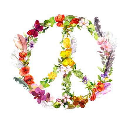 Peace sign with flowers and feathers in boho style. Watercolor