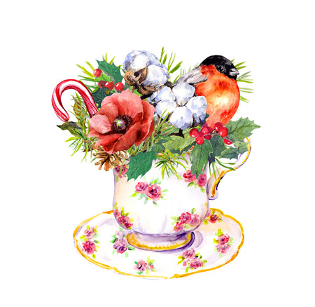Christmas tea cup - bird, fir tree, mistletoe, cotton and new year candy cane. Vintage watercolor for tea time