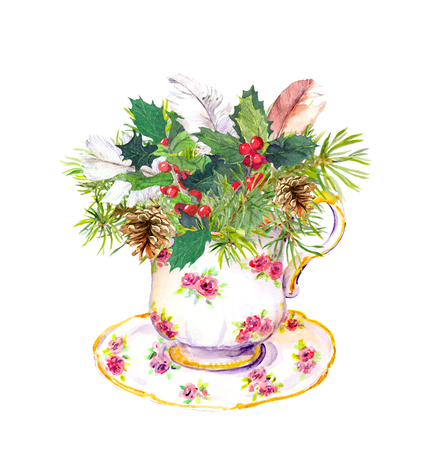 Christmas tea cup - fir tree, mistletoe, cotton and new year candy cane. Vintage watercolor for tea time