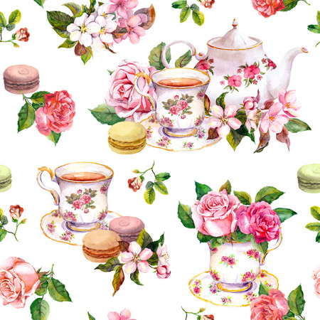 Tea pattern with flowers cherry blossom, rose flower , tea cups and macaroon cakes. Watercolor. Seamless background Stock Photo