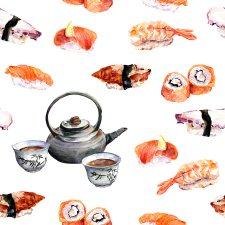 china watercolor paint: Sushi and tea design. Seamless pattern. Watercolor food