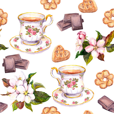 repeated: Repeated tea pattern - tea cup, chocolate, cookies and flowers. Watercolor Stock Photo