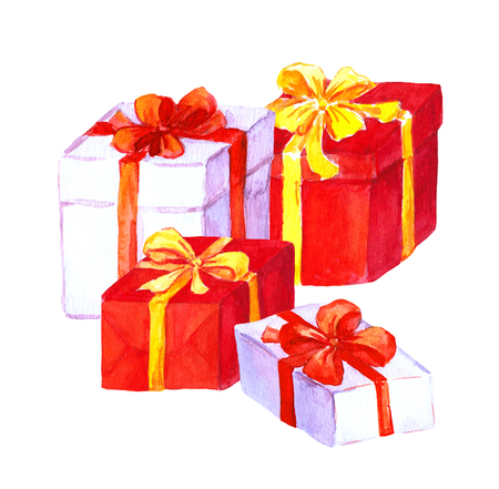 New year and christmas gifts. Red and white boxes with bows. Water color Stock Photo