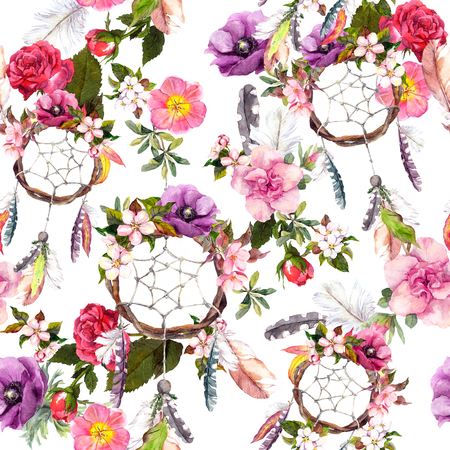 Dream catcher, flowers, feathers. Seamless pattern Watercolor floral background Фото со стока