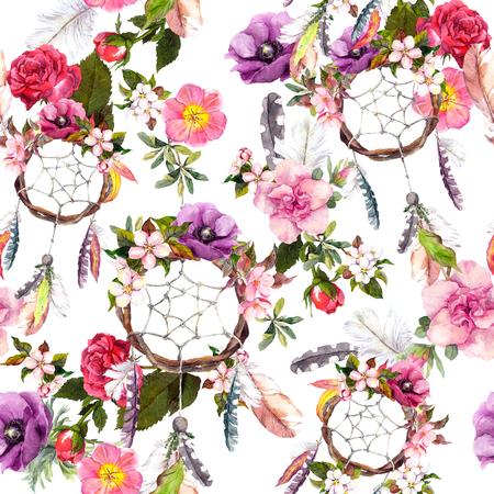Vanger van de droom, bloemen, veren. Naadloos patroon van de waterverf bloemen achtergrond