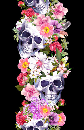 Human skulls with flowers. Seamless border frame. Watercolor