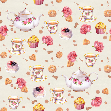 repeated: Tea pot, teacup, cakes and flowers. Repeated tea time wallpaper. Watercolor