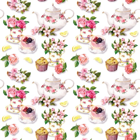 Tea pattern with flowers in teacup, cupcake and teapot. Watercolor. Repeating wallpaper