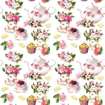 Thee patroon met bloemen in theekopje, cupcake en theepot. Waterverf. Het herhalen van behang