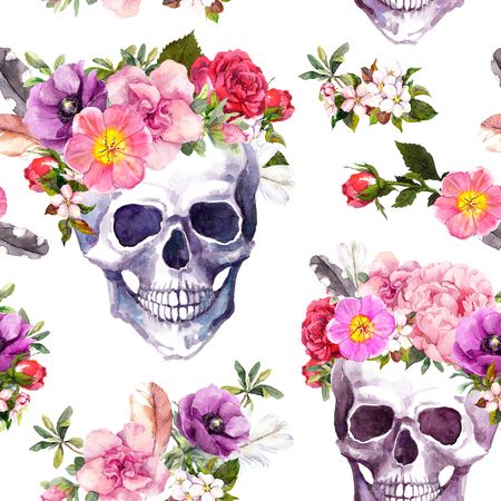 Human skulls with flowers. Seamless pattern. Watercolor