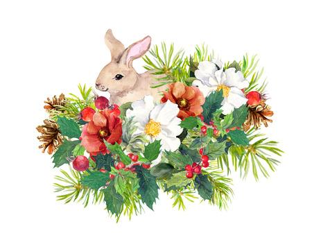 cedro: conejo invierno, flores, árbol de pino, muérdago. Navidad, nuevo año para la acuarela tarjeta de felicitación con animal lindo