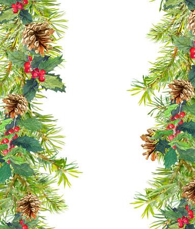 Branches d'arbres de Noël, gui. Cadre sans couture de Noël. Carte aquarelle Banque d'images - 65179768