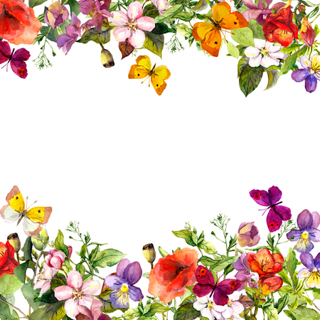 Spring, summer garden: flowers, grass, herbs and butterflies Floral pattern - vintage watercolor Standard-Bild