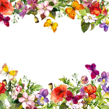Primavera, jardín de verano: flores, césped, hierbas y mariposas Patrón de flores - acuarela de la vendimia