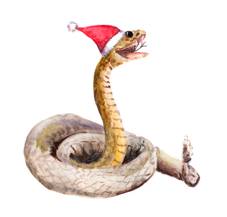 year of the snake: Cute new year snake in red santas hat. Watercolor christmas animal Stock Photo
