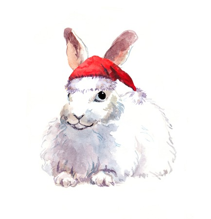 year of the rabbit: Cute character new year rabbit in red santas hat. Watercolor christmas animal