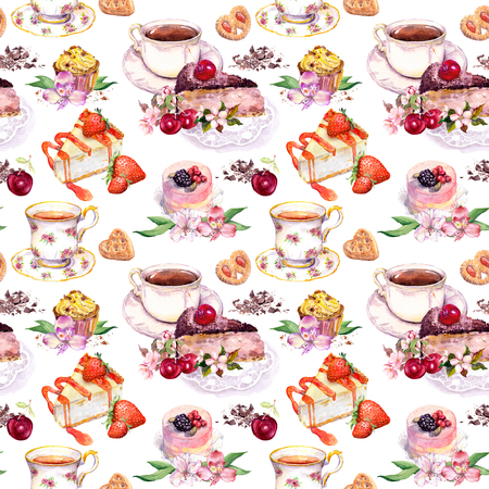 Tea pattern with teacups, cakes and flowers. Watercolor for tea time. Seamless background