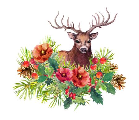 Deer animal, winter flowers, fir tree, mistletoe. Watercolor for new year or christmas card Stock Photo