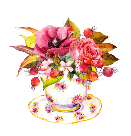 teaparty: Tea cup design with rose flowers, autumn leaves, berries and vintage feathers. Autumn watercolor for teatime party Stock Photo