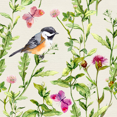 repeated: Meadow herbs, flowers, butterflies and bird. Repeated herbal pattern Watercolor