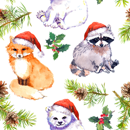 Christmas background with cute animals in red santas hats, pine branches. Repeating pattern. Watercolor