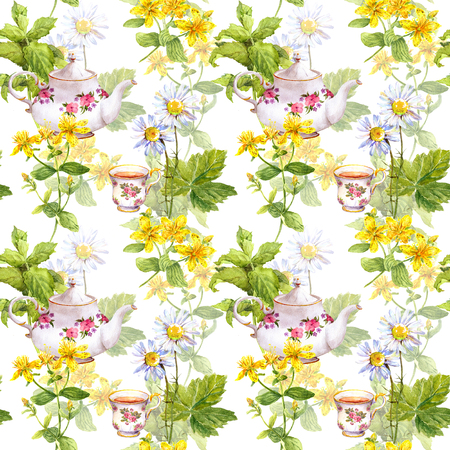 camomile tea: Herbal tea. Seamless pattern: herbs chamomile, mint, hypericum  tea pot teacup Watercolor Stock Photo
