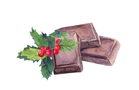 Chocolate block and mistletoe. Christmas sweet watercolor Stock Photo