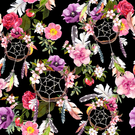 Dream catcher, flowers, feathers. Seamless pattern Watercolor floral background Stock Photo