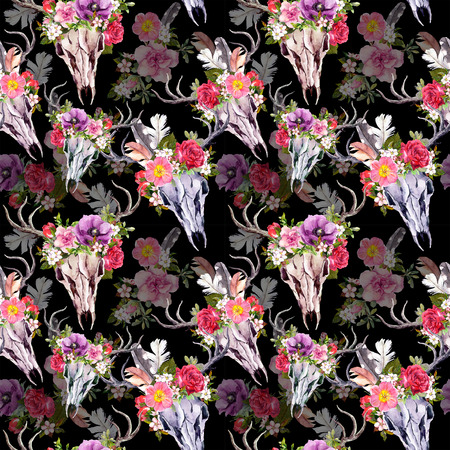 Deer skulls with flowers. Seamless pattern. Watercolor Stock Photo